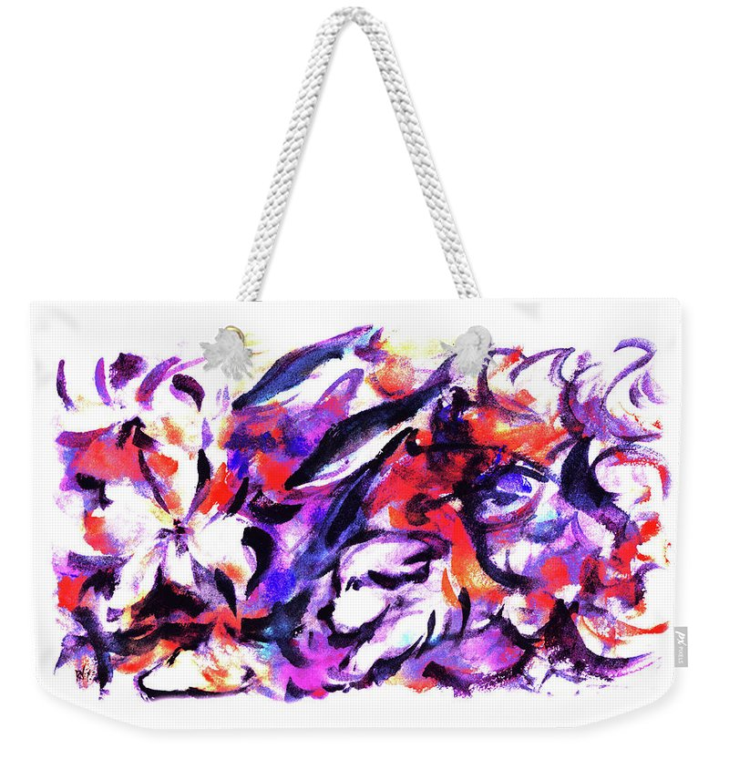 Flowers Weekender Tote Bag featuring the painting Doggies And Dolphins by Rachel Christine Nowicki