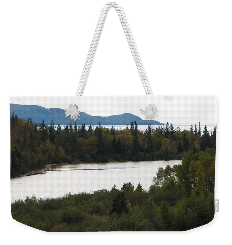 River Weekender Tote Bag featuring the photograph Dogleg by Kelly Mezzapelle