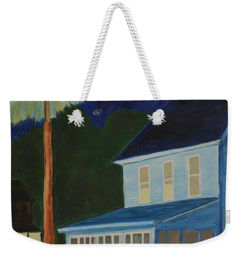 Chincoteague Island Weekender Tote Bag featuring the digital art Dogleg On Deep Hole Road by Ed Schamel