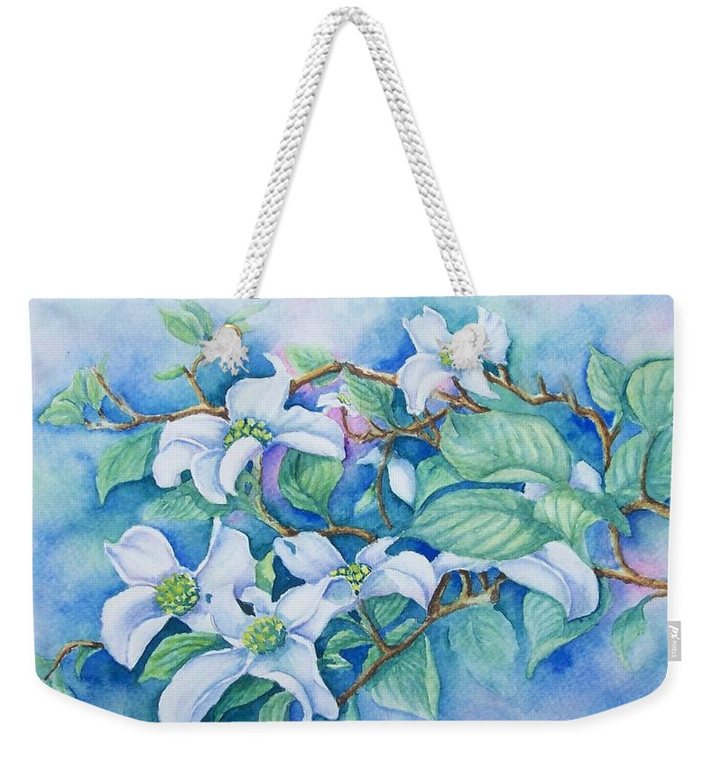 Floral Weekender Tote Bag featuring the painting Dogwood by Conni Reinecke