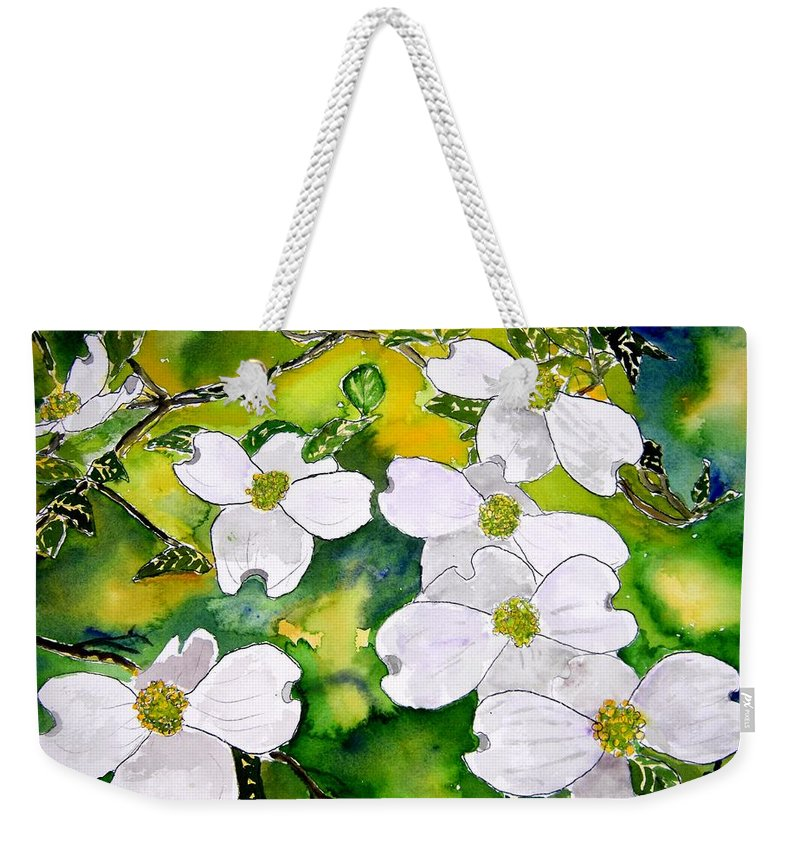 Dogwood Weekender Tote Bag featuring the painting Dogwood Tree Flowers by Derek Mccrea