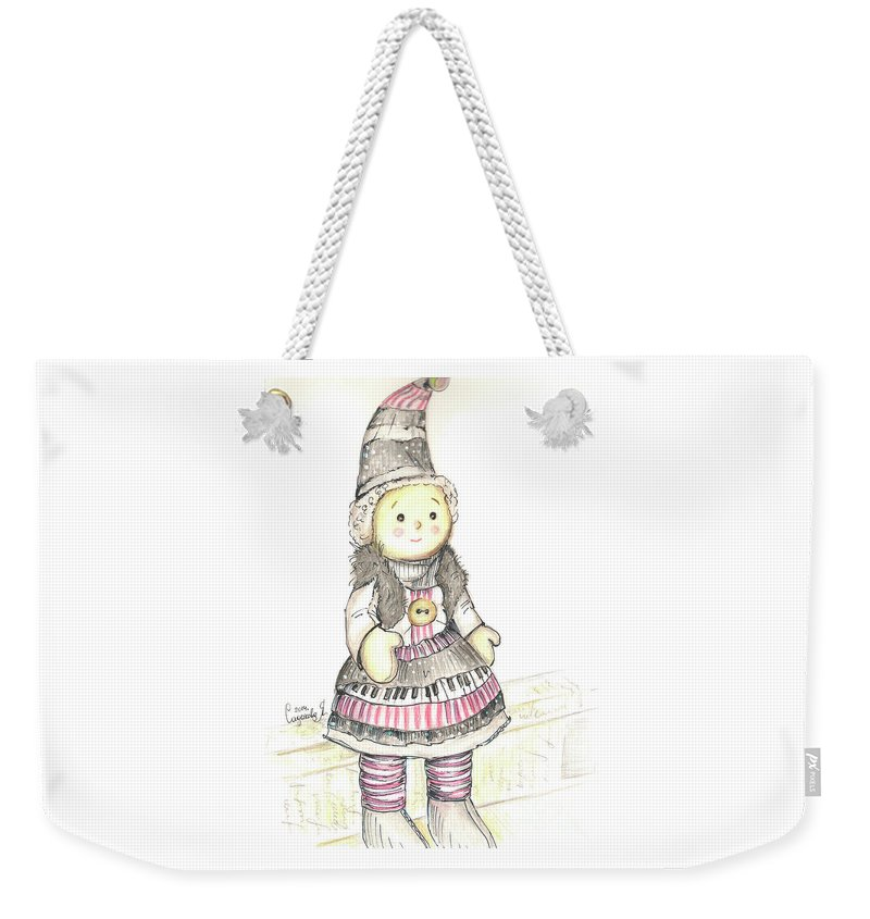 Doll Weekender Tote Bag featuring the drawing Doll by Yana Sadykova