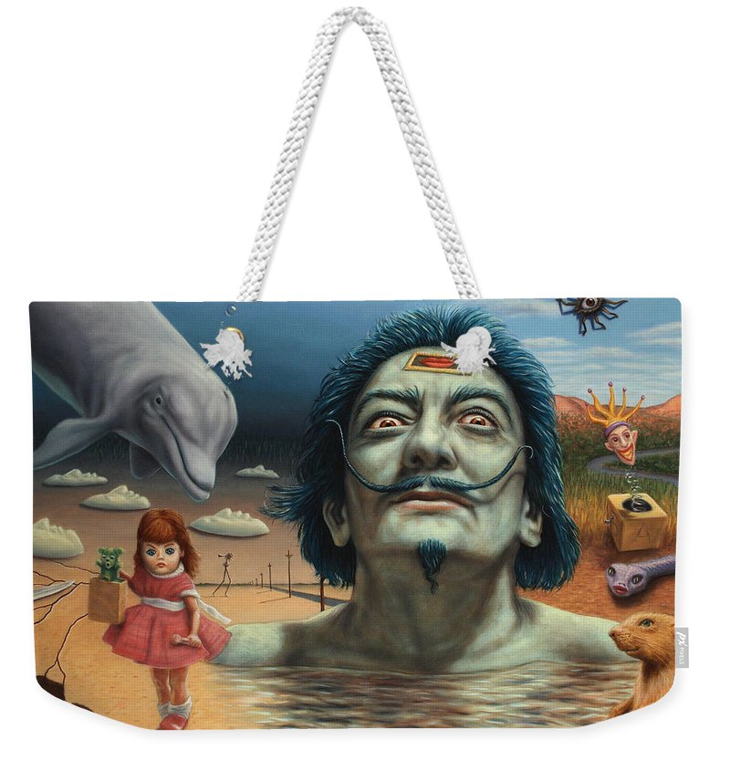 Dali Weekender Tote Bag featuring the painting Dolly In Dali-land by James W Johnson