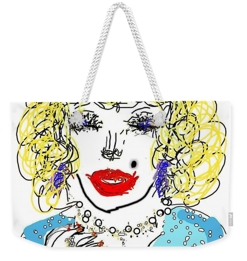Dolly Weekender Tote Bag featuring the digital art Dolly by Kathy Barney