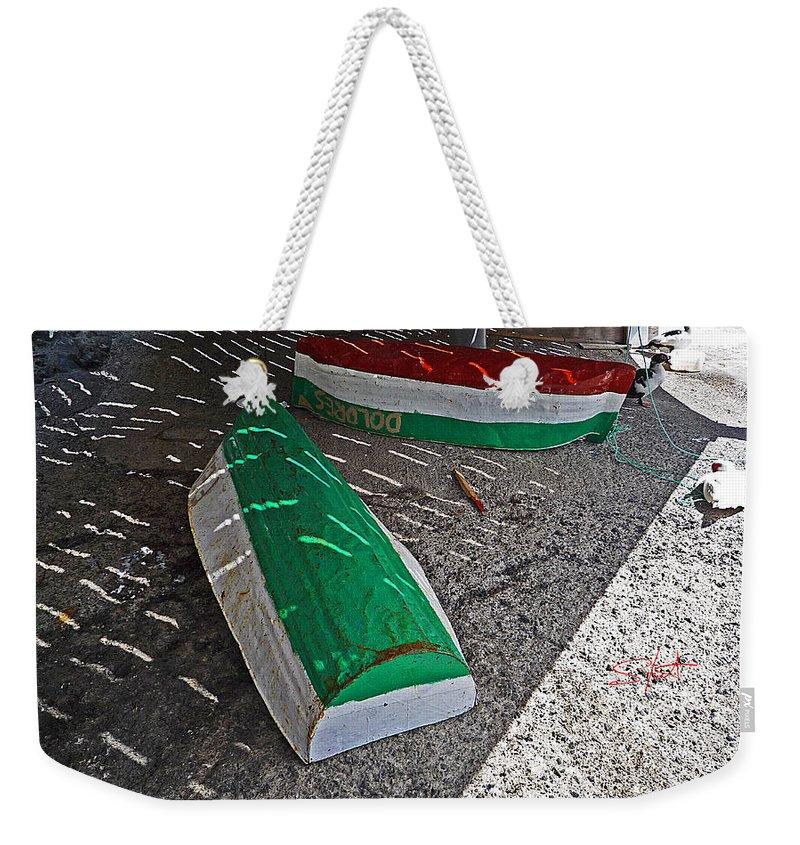 Boat Weekender Tote Bag featuring the photograph Dolores by Charles Stuart