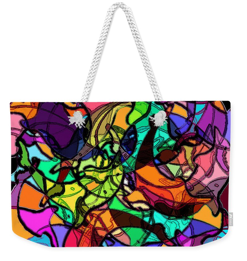 Abstract Weekender Tote Bag featuring the digital art Dolphin Kaleidoscope by Rachel Christine Nowicki