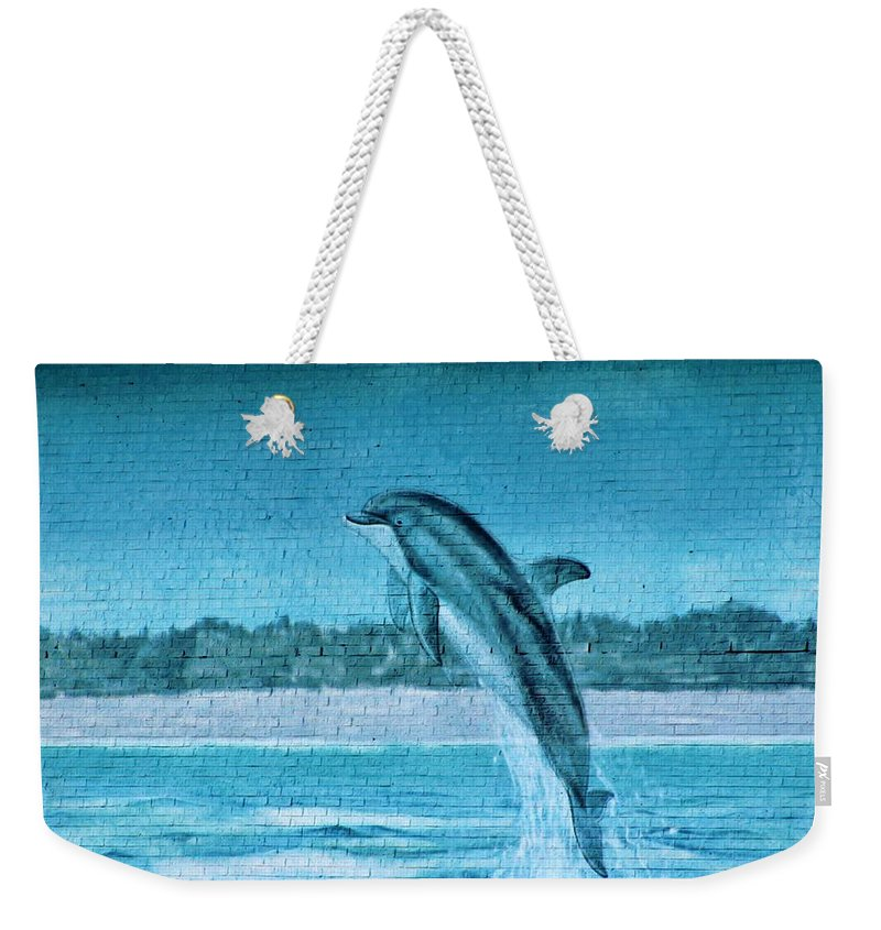 Dolphin Weekender Tote Bag featuring the photograph Dolphin Mural by Cynthia Guinn