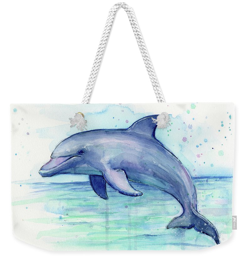 Dolphin Weekender Tote Bag featuring the painting Dolphin Watercolor by Olga Shvartsur