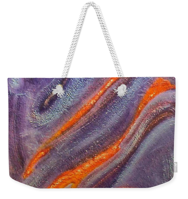 Mixed Media Weekender Tote Bag featuring the mixed media Dolphins by Dragica Micki Fortuna