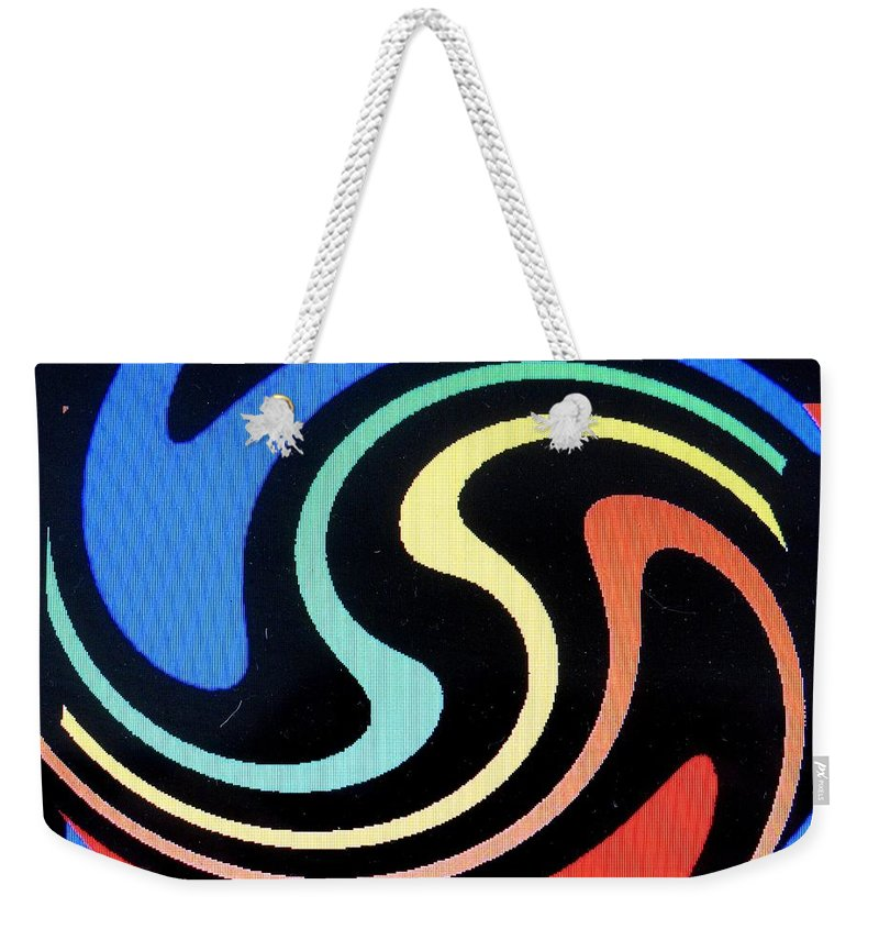 Dolphins Weekender Tote Bag featuring the digital art Dolphins by Ian MacDonald