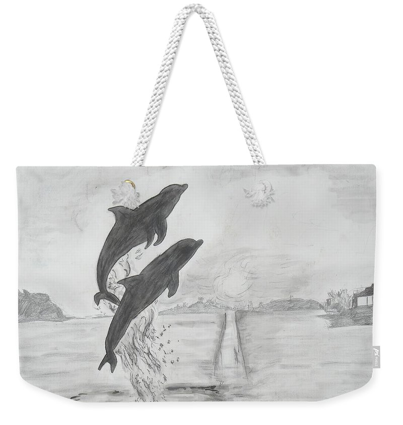 Dolphins Weekender Tote Bag featuring the drawing Dolphins Of The Sea by Deborah R Minter