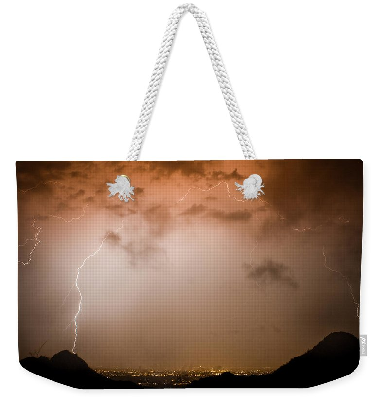 Lightning Weekender Tote Bag featuring the photograph Dome Of Lightning by James BO Insogna