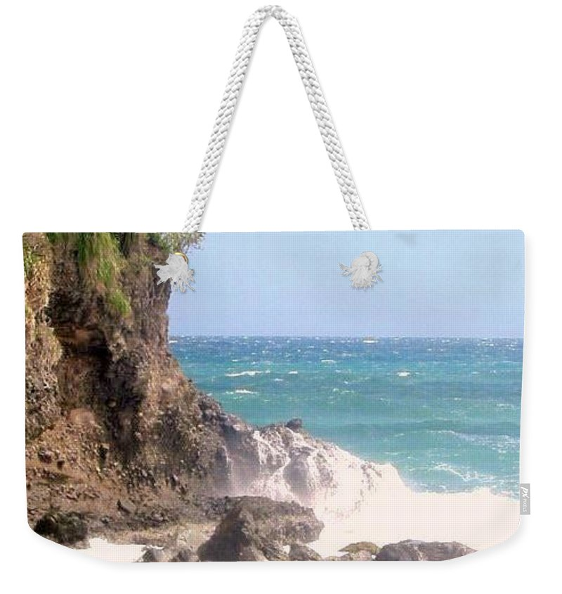 Dominica Weekender Tote Bag featuring the photograph Dominica North Atlantic Coast by Ian MacDonald