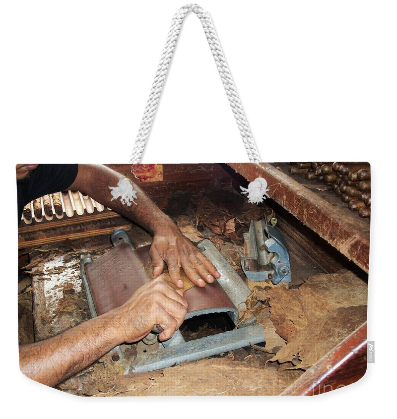 Dominican Republic Weekender Tote Bag featuring the photograph Dominican Cigars Made By Hand by Heather Kirk