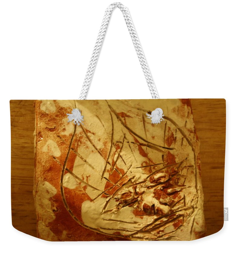 Jesus Weekender Tote Bag featuring the ceramic art Don - Tile by Gloria Ssali