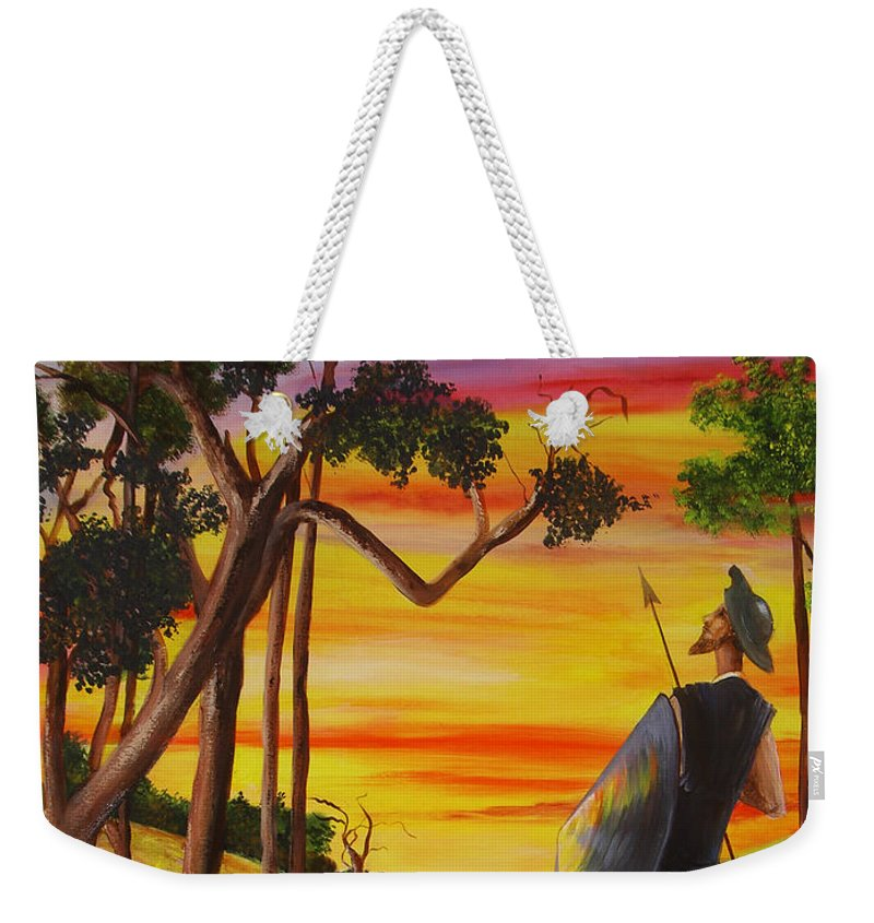 Don Quixote Weekender Tote Bag featuring the painting Don Quixote And Sancho by Dominica Alcantara