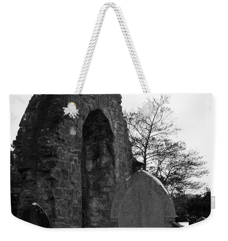 Irish Weekender Tote Bag featuring the photograph Donegal Abbey Ruins Donegal Ireland by Teresa Mucha