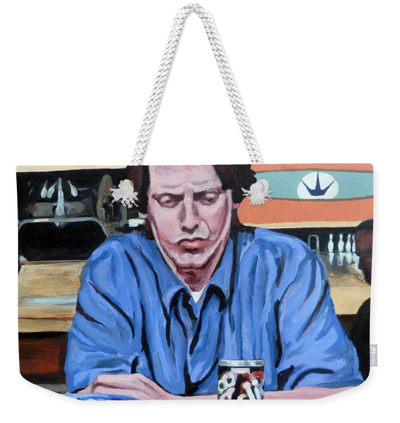 The Dude Weekender Tote Bag featuring the painting Donny Kerabatsos by Tom Roderick
