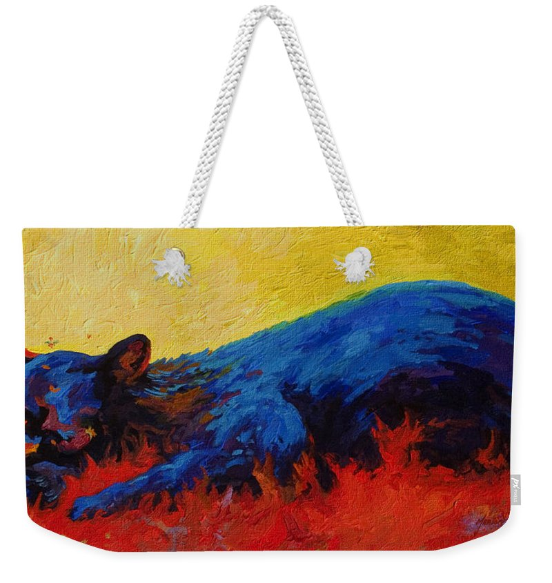 Western Weekender Tote Bag featuring the painting Dont Bug Me by Marion Rose