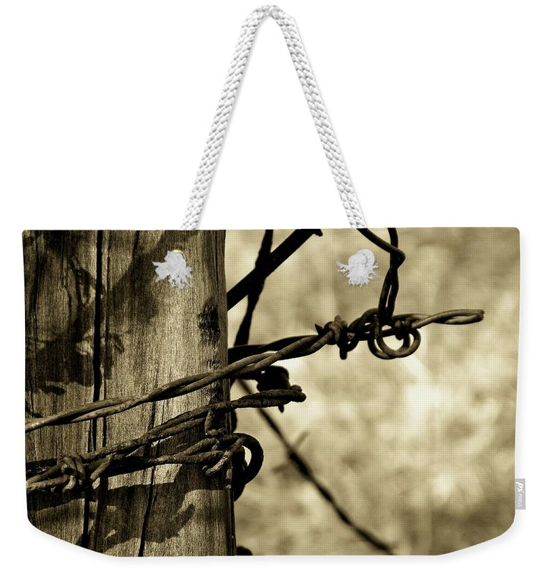 Barbed Weekender Tote Bag featuring the photograph Don't Fence Me In 2 by Betty Northcutt