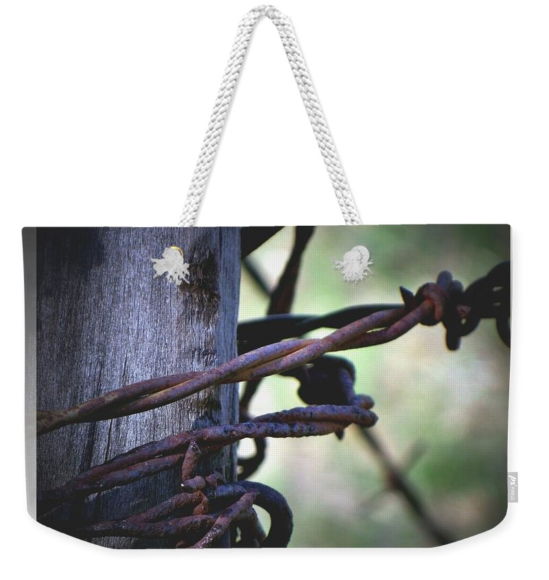 Barbed Weekender Tote Bag featuring the photograph Don't Fence Me In by Betty Northcutt