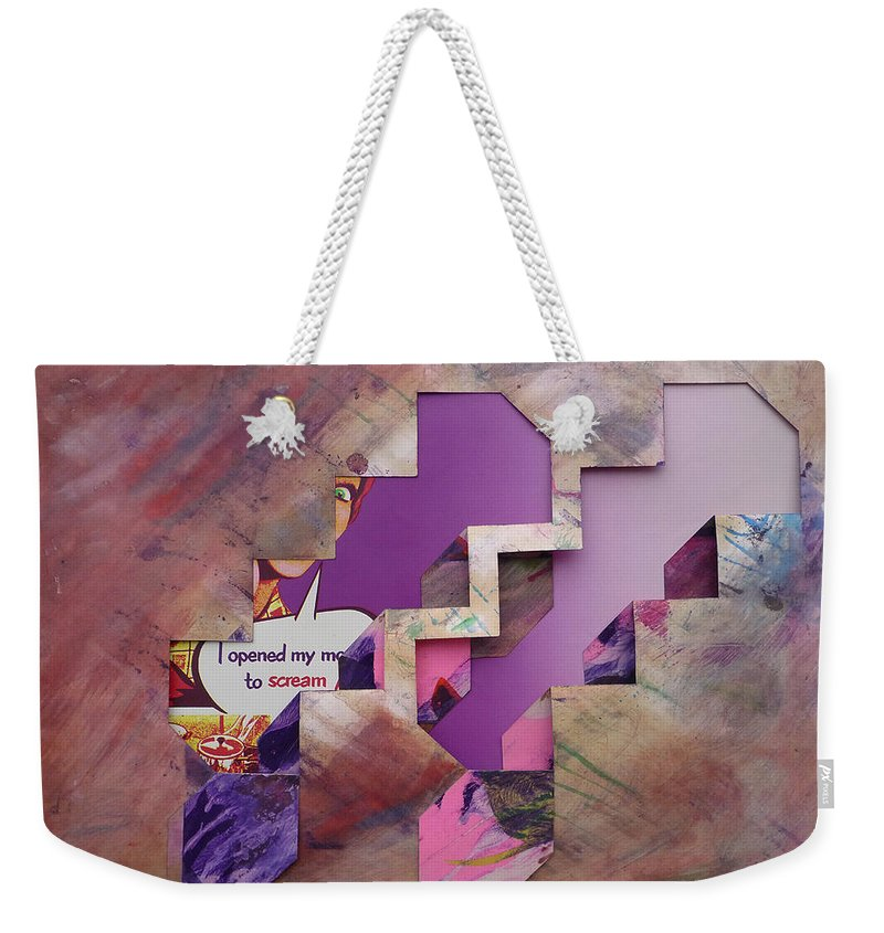 Psycho Weekender Tote Bag featuring the painting Don't Go Up The Stairs by Charles Stuart