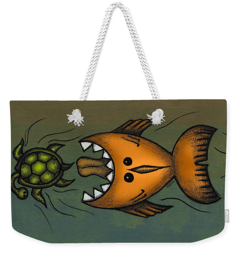 Fish Weekender Tote Bag featuring the digital art Don't Look Back by Kelly Jade King