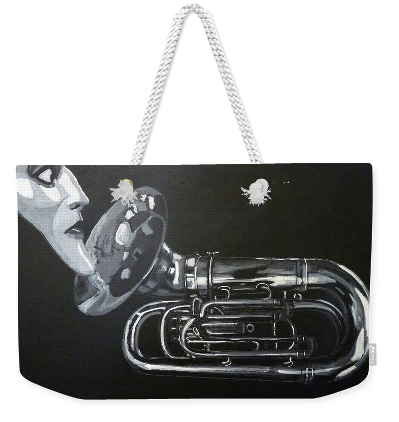 Tuba Weekender Tote Bag featuring the painting Don't You Dare Play That by Richard Le Page