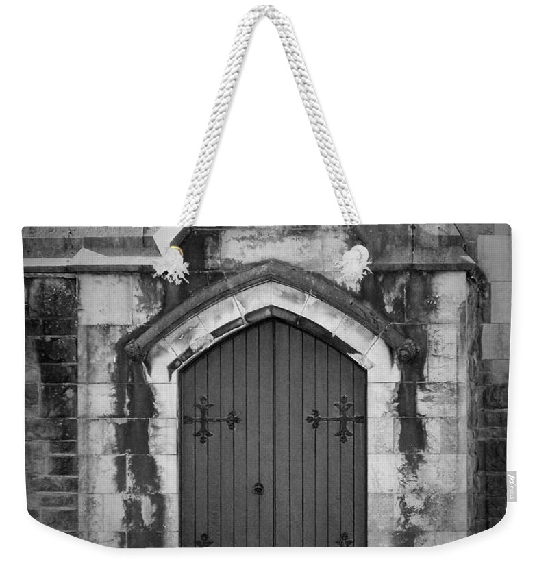 Irish Weekender Tote Bag featuring the photograph Door At St. Johns In Tralee Ireland by Teresa Mucha