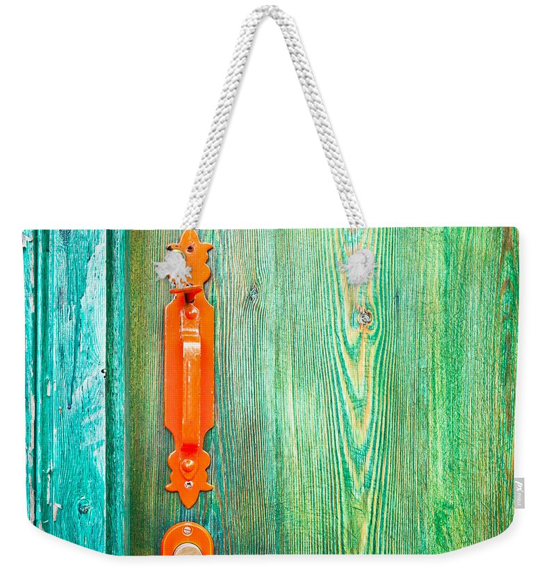 Access Weekender Tote Bag featuring the photograph Door Handle by Tom Gowanlock