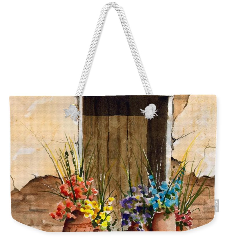 Door Weekender Tote Bag featuring the painting Door With Flower Pots by Sam Sidders