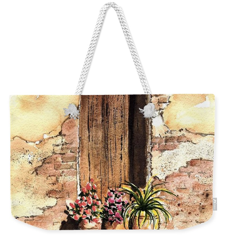 Door Weekender Tote Bag featuring the painting Door With Flowers by Sam Sidders
