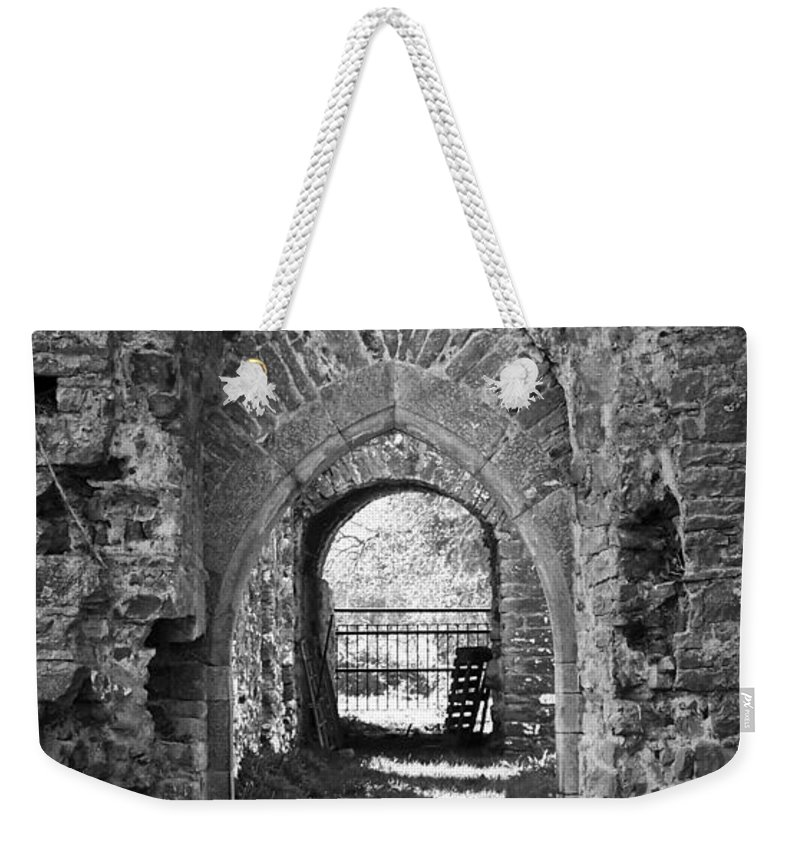 Irish Weekender Tote Bag featuring the photograph Doors At Ballybeg Priory In Buttevant Ireland by Teresa Mucha