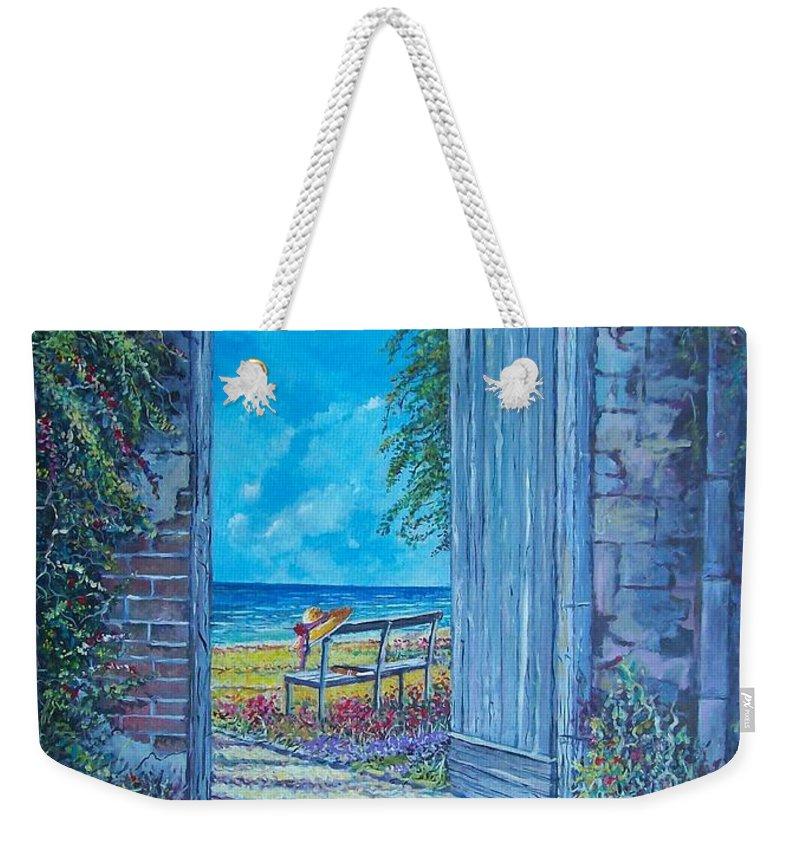 Original Painting Weekender Tote Bag featuring the painting Doorway To ... by Sinisa Saratlic