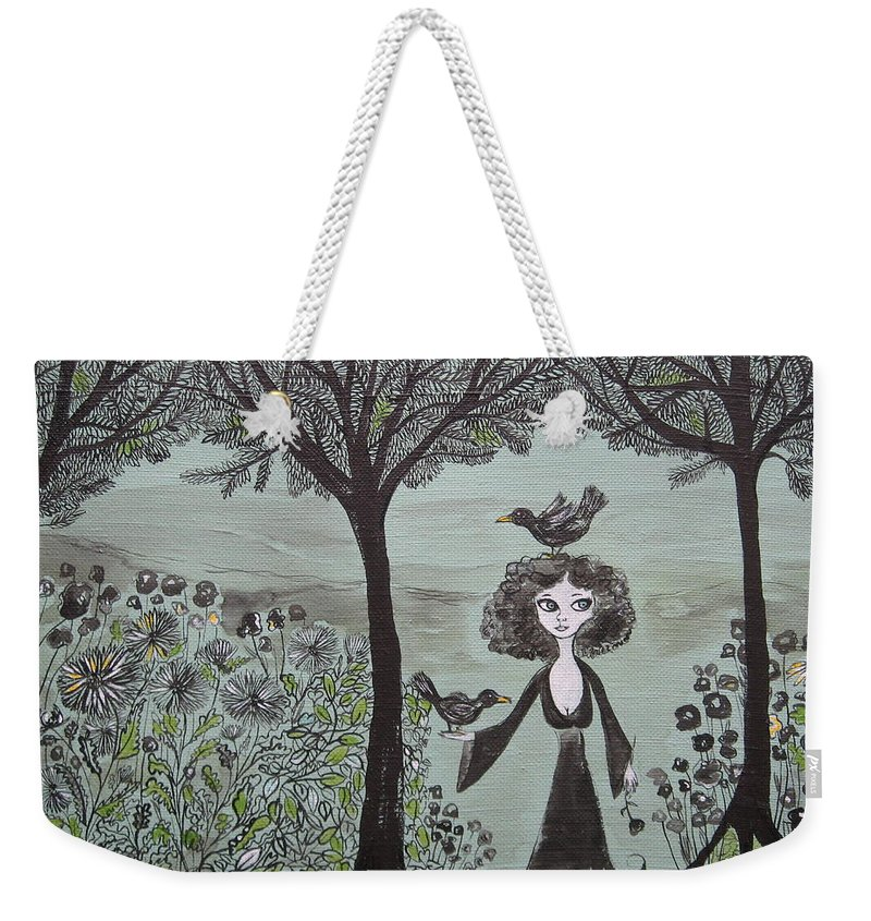 Woods Weekender Tote Bag featuring the painting Ninas Garden by Sue Wright