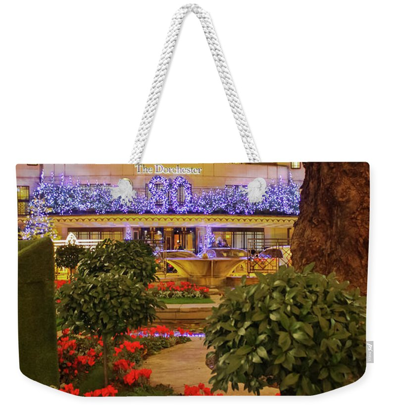 Dorchester Hotel Weekender Tote Bag featuring the photograph Dorchester Hotel London At Christmas by Terri Waters