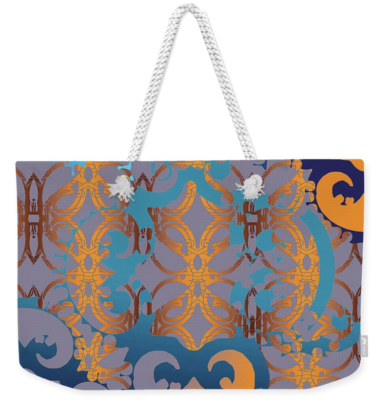 Blue And Gold Weekender Tote Bag featuring the digital art Doro Dallas by Ceil Diskin