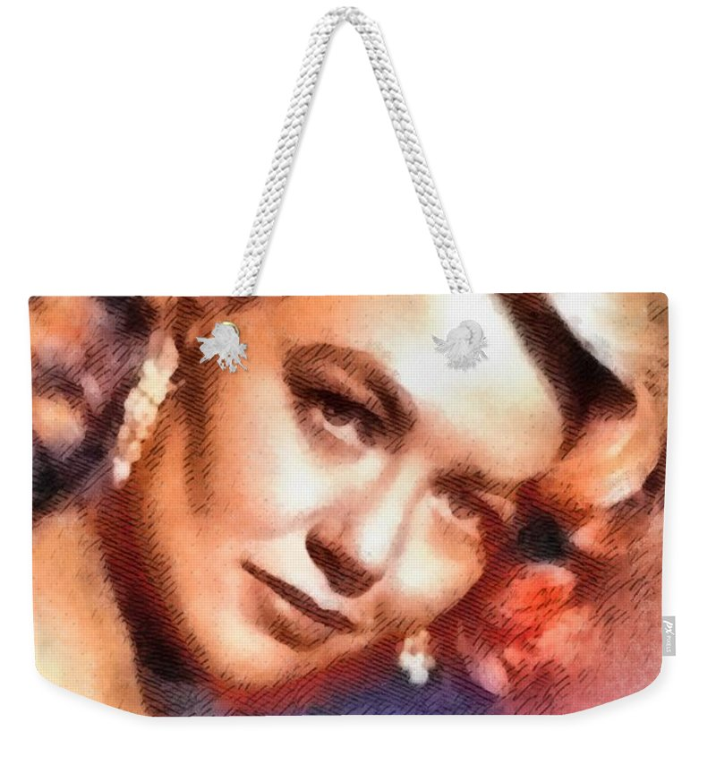 Cinema Weekender Tote Bag featuring the painting Dorothy Malone, Vintage Hollywood Actress by John Springfield
