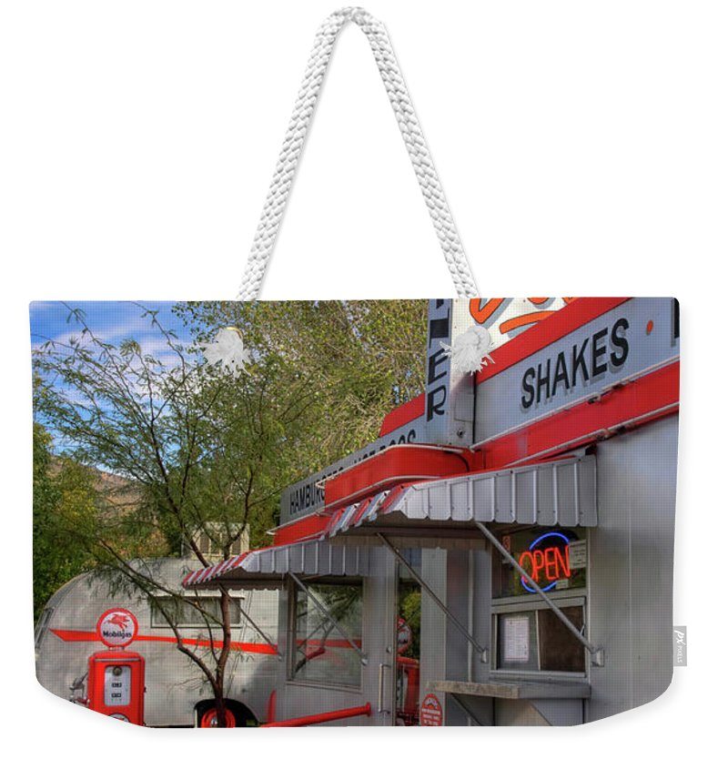 Diner Weekender Tote Bag featuring the photograph Dot's Diner In Bisbee by Charlene Mitchell