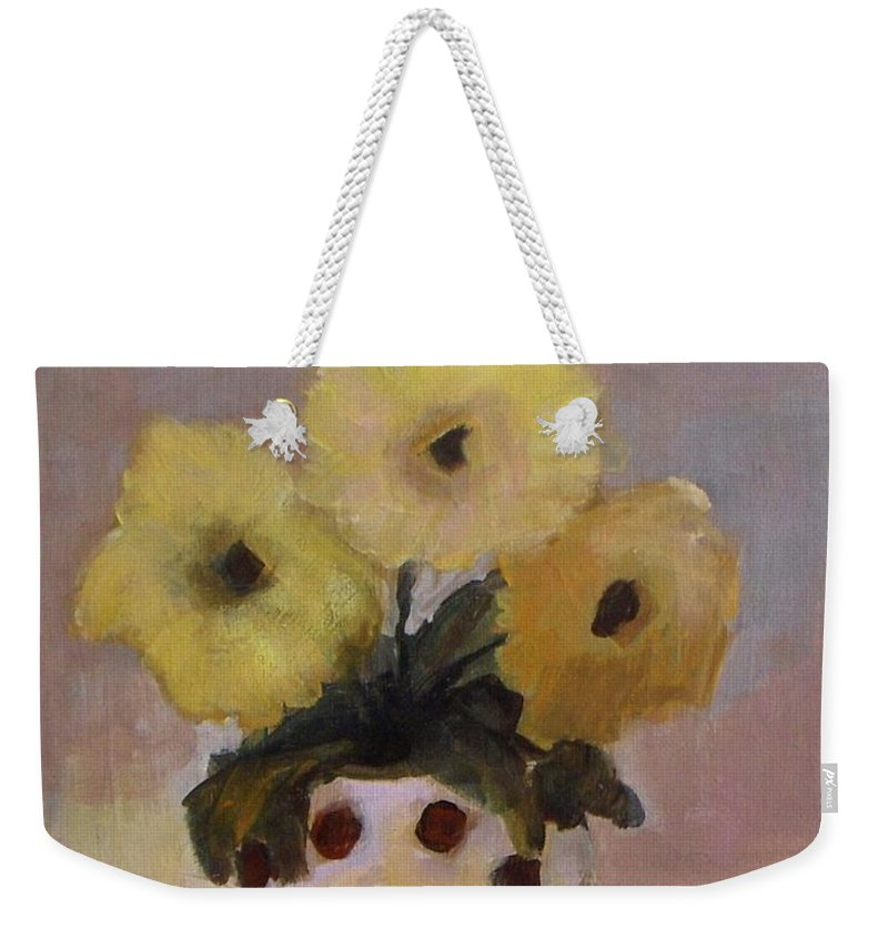 Dotted Weekender Tote Bag featuring the painting Dotted Vase With Yellow Flowers by Vesna Antic
