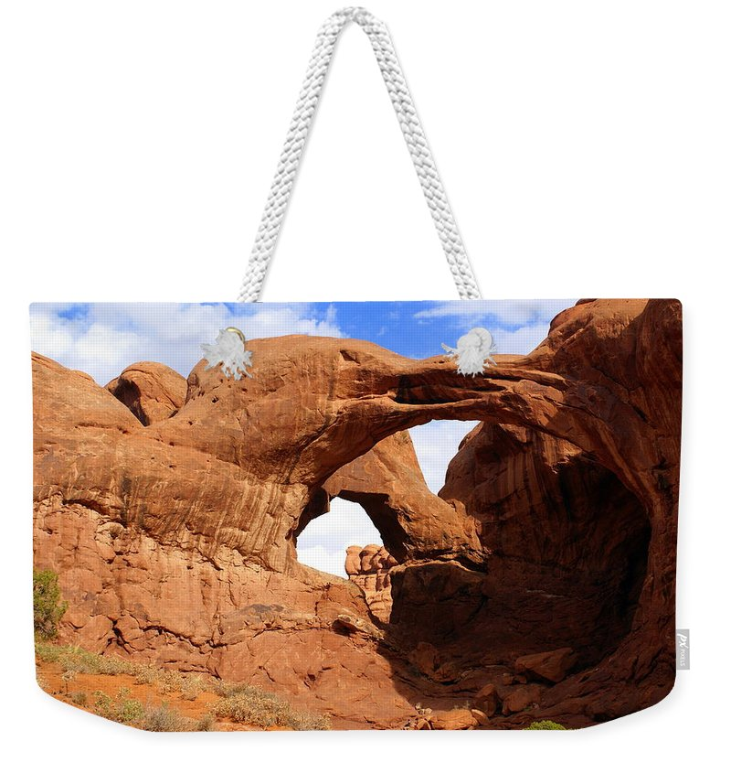 Southwest Art Weekender Tote Bag featuring the photograph Double Arch by Marty Koch