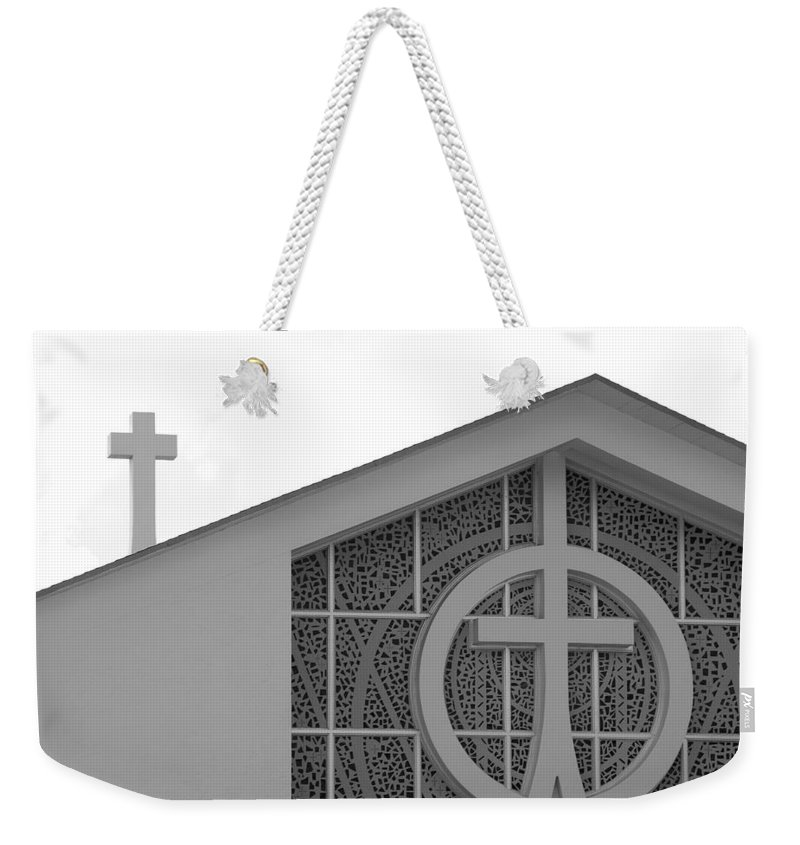 Black And White Weekender Tote Bag featuring the photograph Double Cross Church by Rob Hans