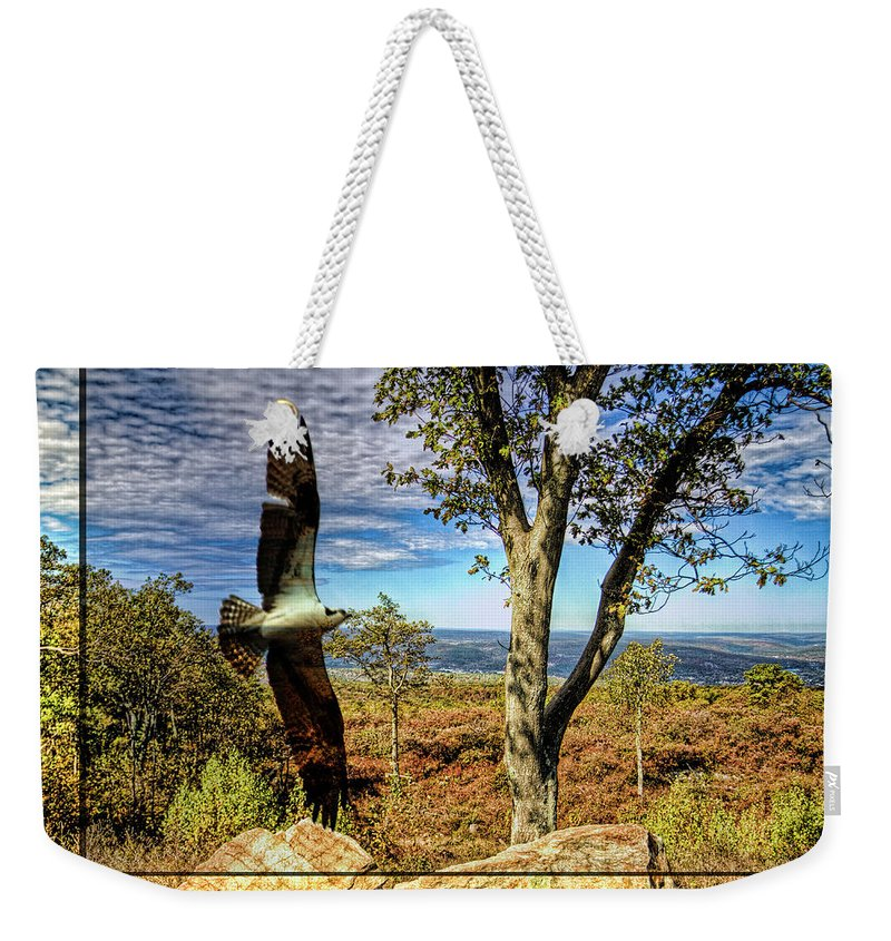 Recent Weekender Tote Bag featuring the photograph Double Exposure Osprey And High Point Nj by Geraldine Scull