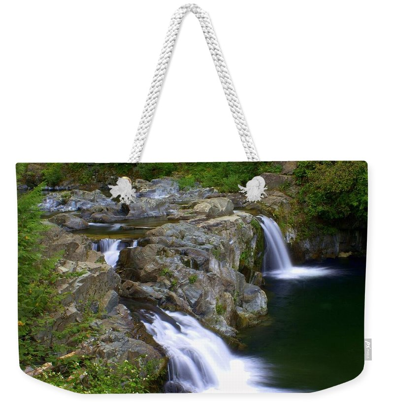 Waterfalls Weekender Tote Bag featuring the photograph Double Falls by Marty Koch