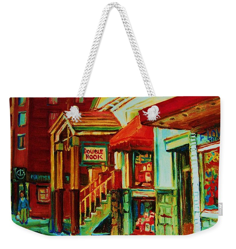 Double Hook Bookstore Weekender Tote Bag featuring the painting Double Hook Book Nook by Carole Spandau