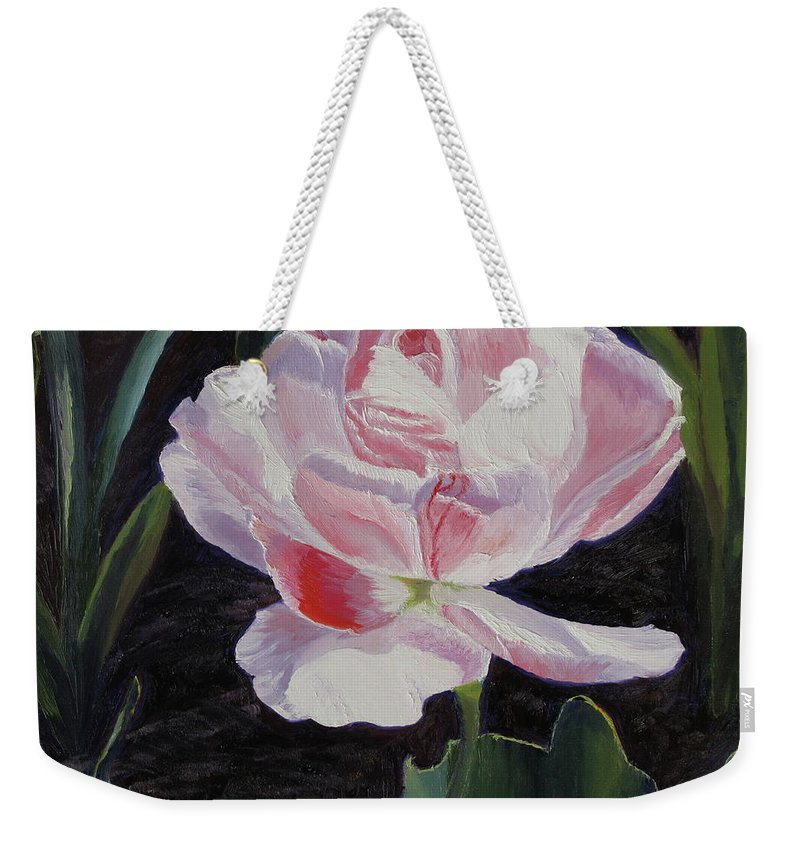 Flower Weekender Tote Bag featuring the painting Double Sassy Tulip by Lea Novak