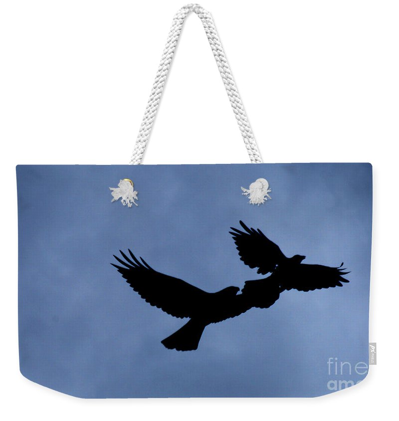 Birds Weekender Tote Bag featuring the photograph Double Silhouette by Lori Tambakis