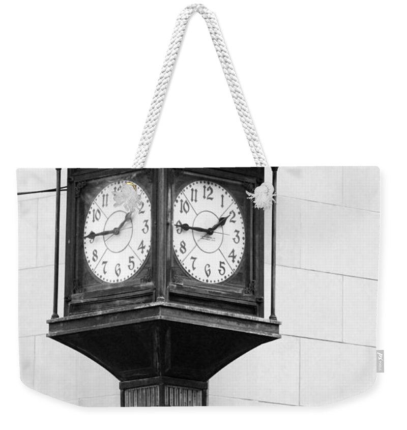 Black And White Weekender Tote Bag featuring the photograph Double Time Black And White by Jill Reger