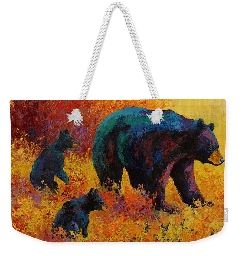 Bear Weekender Tote Bag featuring the painting Double Trouble - Black Bear Family by Marion Rose