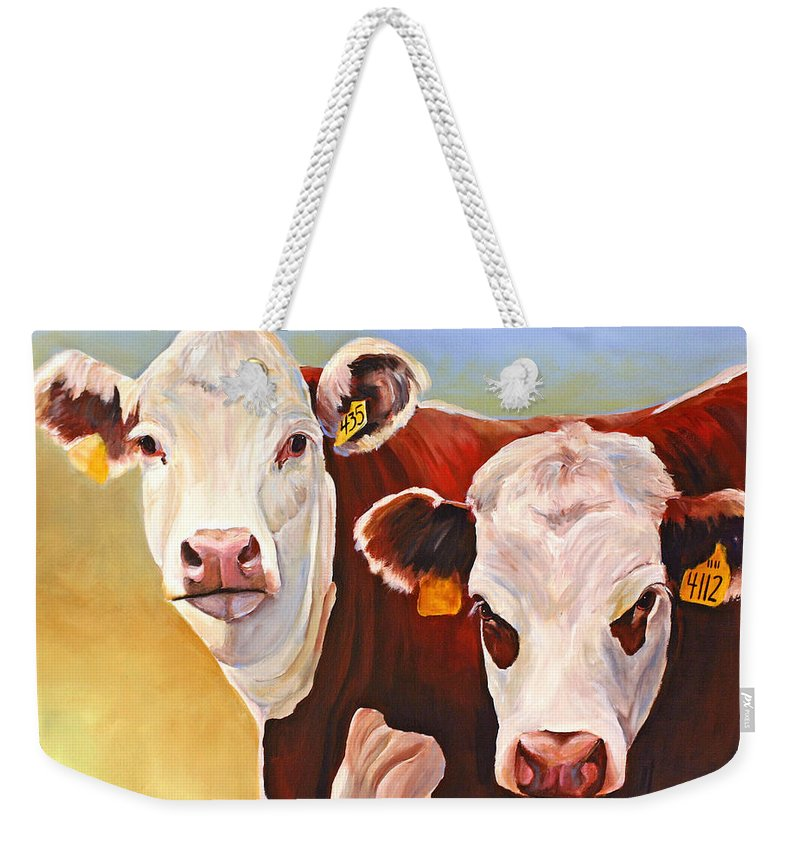 Hereford Weekender Tote Bag featuring the painting Double Trouble Hereford Cows by Toni Grote
